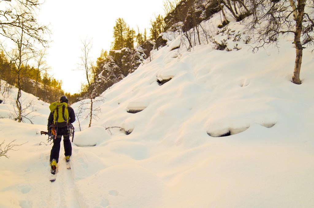 På vei inn til Moskusfallet i Skårhåmmårdalen